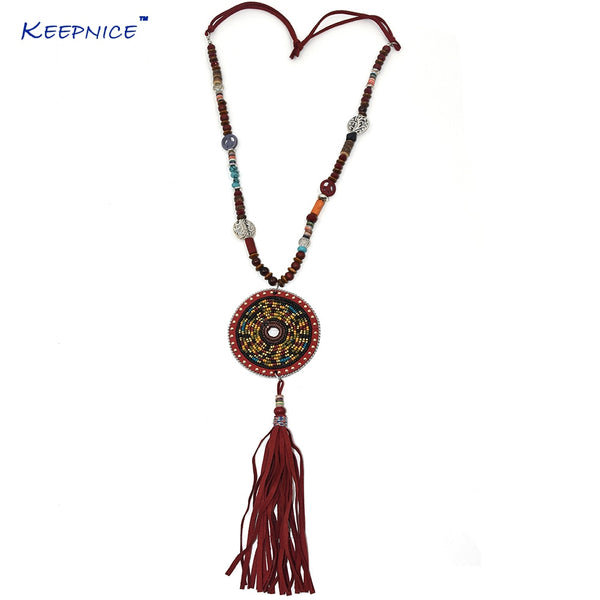 Leather Tassel Pendents long Necklce