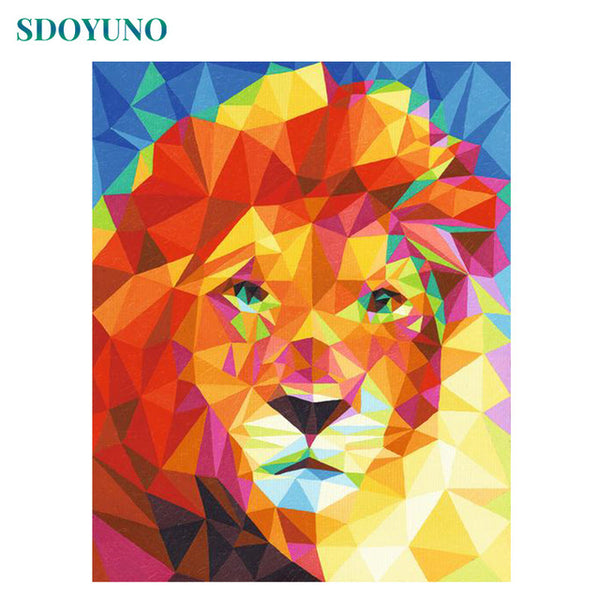 60x75cm Frame DIY Painting By Numbers Kits Colorful Lions Animals Hand Painted Oil