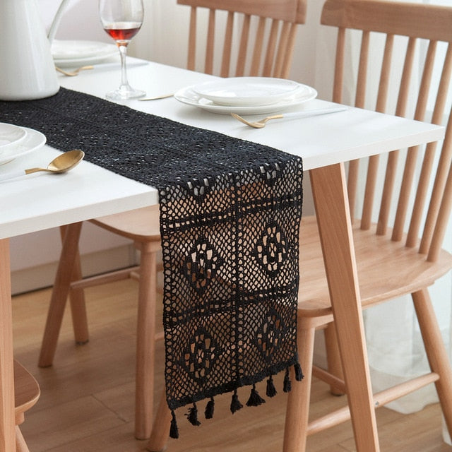 Cotton Table Runner Hollow Handmade Crochet With Tassel Tables Cloth Home Kitchen