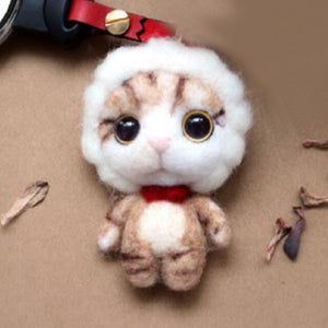 Women DIY LOL Cat Toy Doll Wool Felt Poked Kitting Non-Finished Handcarft Wool