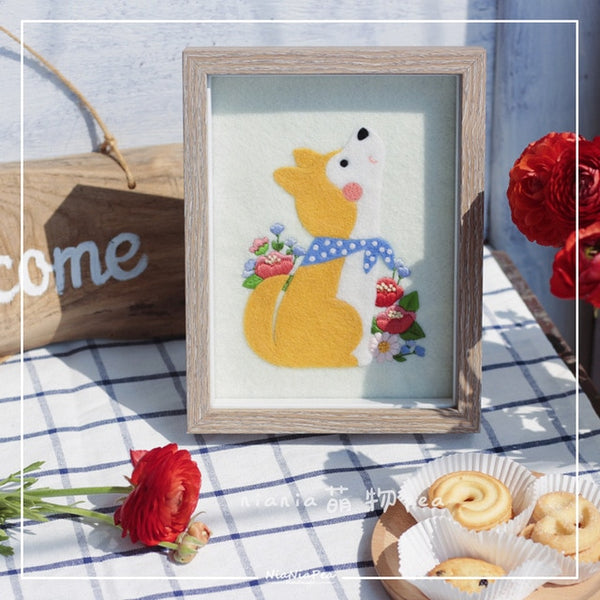 Lovely animal picture frame painting wool needlepoint kit wool felt needle felting pendant craft