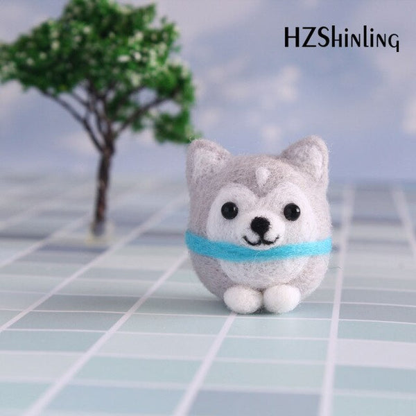 Non-Finished Handmade DIY Wool Felting Package Cute Dog Pet Decoration For Girls