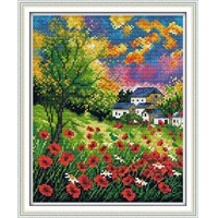 Beautiful Flowers Stamped Cross Stitch Patterns DIY Kits 14CT11CT Chinese Needlework Embroidery Sets