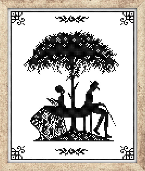 Monochrome Figure Stamped Cross Stitch Patterns DIY Kits Needlework Embroidery Sets