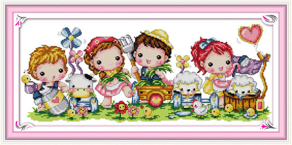 Happy Childhood Counted Cross Stitch Embroidery Sets 11CT14CT DIY Kit Needlework Cartoon