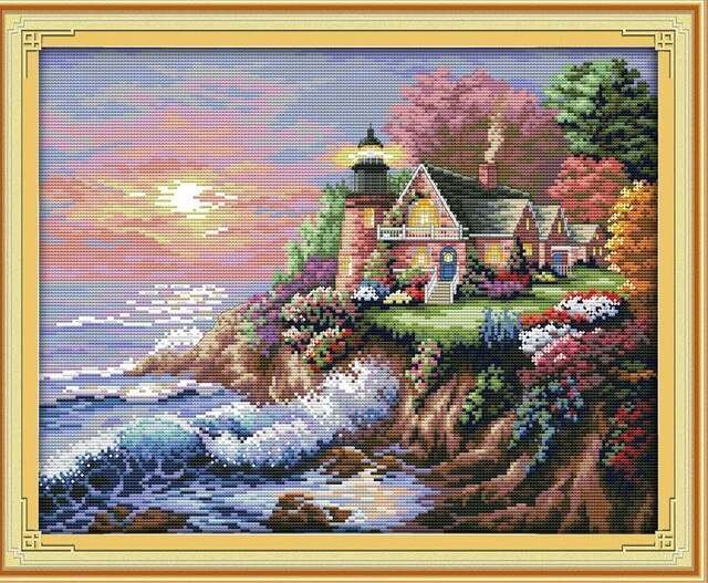 Needlework Embroidery DIY Painting Cross stitch kits 14ct 11ct Lighthouse Series Landscape