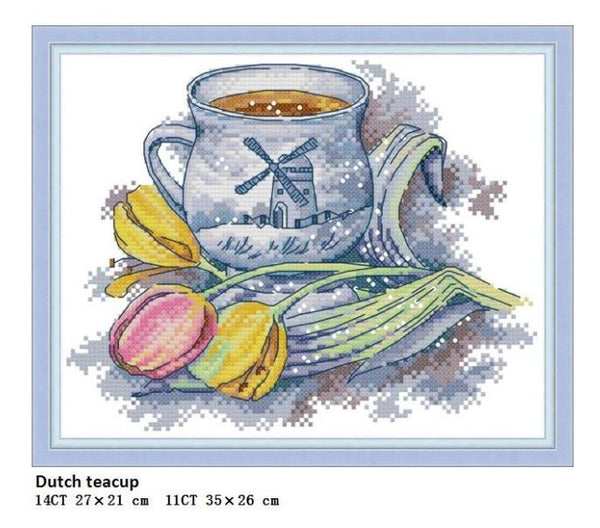 Teacup Series From Different Countries, Counted Print On Canvas DMC 14CT 11CT Cross Stitch kits