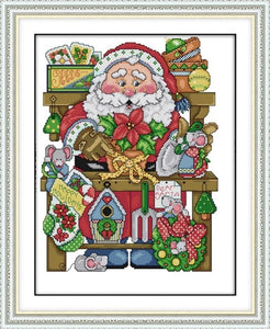 Joy Sunday Santa Claus and Christmas Snowman Cross Stitch kit aida 14ct 11ct Counted Print Canvas
