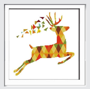 Joy Sunday Elk and Seven color Deer Canvas DMC Counted Chinese Cross Stitch Kits printed