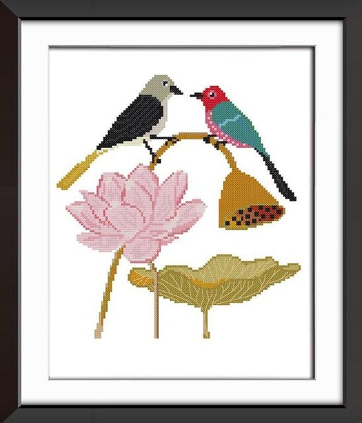 The birds on the lotus,Stacked birds,Abstract painting (parrot) Pattern Counted Printed