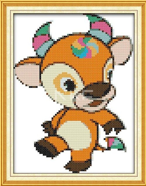 Chinese Zodiac Cartoon Cross-Stitching DMC14CT 11CT Count Printed Canvas DIY