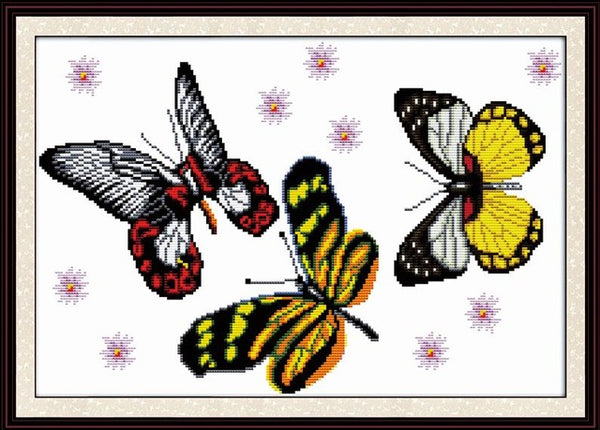 Joy Sunday Butterfly Series Canvas DMC Counted Chinese Cross Stitch Kits printed