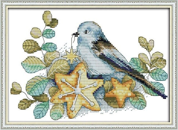 Joy Sunday Cross-stitch Embroidery kits,DIY Handwork Embroidery Suit,Little Birds and Hut Pattern