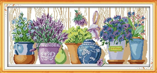 The Pottings on the Windowsill Patterns Cross Stitch Kits 11CT Printed Fabric 14CT Canvas