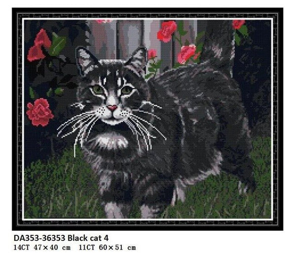 Black Dog and Cat Series Aida Fabric Cross Stitch Kit Counted Printed Canvas Stitches DMC Cotton