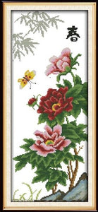 Joy Sunday Four Seasons Scenery Canvas DMC 11CT 14CT Counted Chinese Cross Stitch Kits Printed