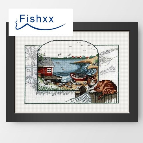 Cross Stitch C291 Coastal Landscape Cat Color Box Cute Thumbnail Two Handmade Embroidery Bags