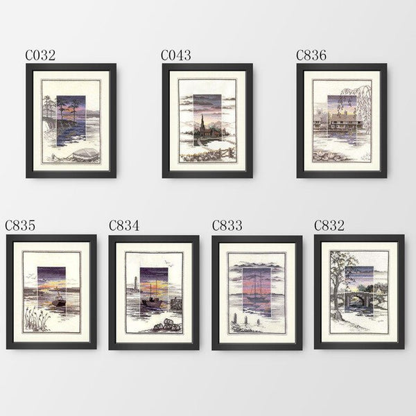 Cross Stitch C832-C836 Five Pictures Painted Inside The River Landscape European