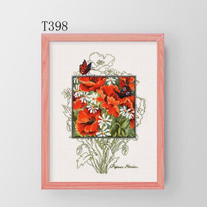 Cross Stitch Kit T398-399 Plant Flowers Two Poppy And Blue Cornflower Hand Embroidery
