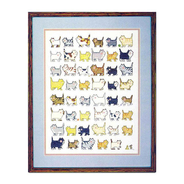 Cross Stitch T351 Thirty-nine dogs and T134 forty-seven cat lined up pet cartoon