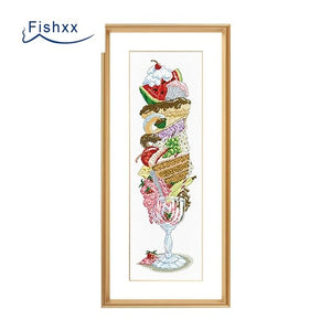 Cross Stitch Kit T699 S279 Super Ice Cream Fruit Dessert Hand Embroidered Restaurant Two Patterns