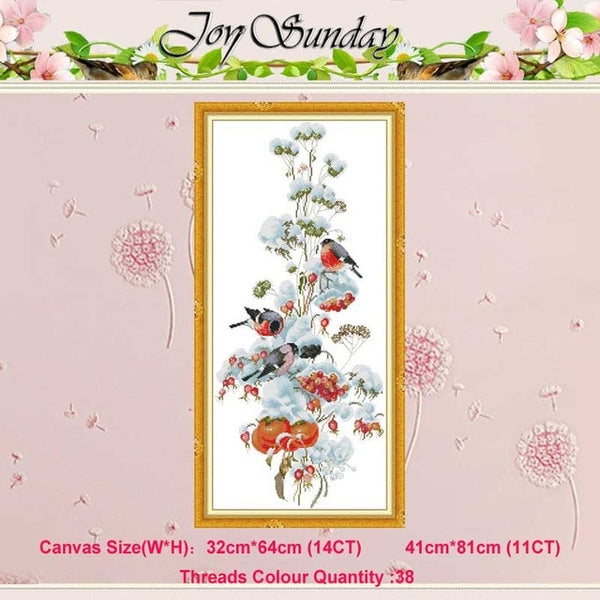 Four seasons flower bird counted 11CT 14CT Cross Stitch Set DIY DMC Chinese Cross-stitch Kit