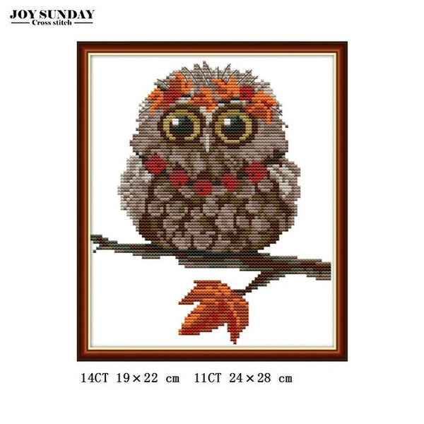 Joy Sunday Embroidery Cross Stitch Sets Owl Animals Patterns 14ct 11ct DMC DIY Hand Needlework