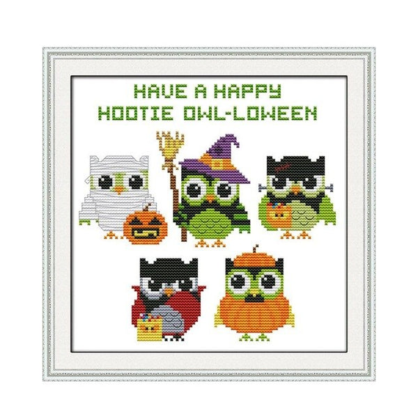 Cartoon Animal Cross Stitch Kit Funny Halloween Small Size Child Student Manual Class Simple