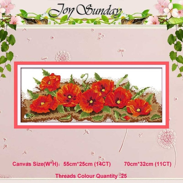 Poppy Sunflower vase basket counted 11CT 14CT Cross Stitch Set DIY DMC flower Cross-stitch Kit