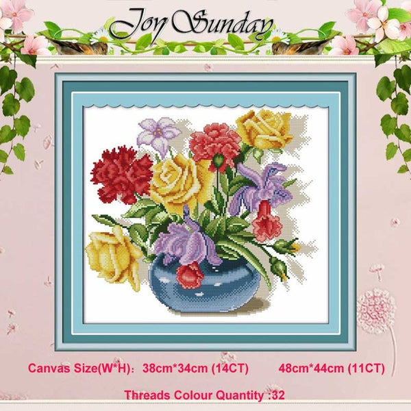 Rose  tulip vase Asters flower counted 11CT 14CT Cross Stitch Set DIY DMC Cross-stitch Kit