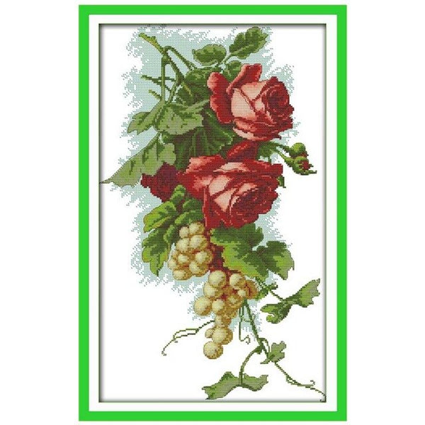 Cherry Grapes roses Flowers apples counted Cross Stitch 11CT 14CT Cross Stitch Set DIY Cross-stitch