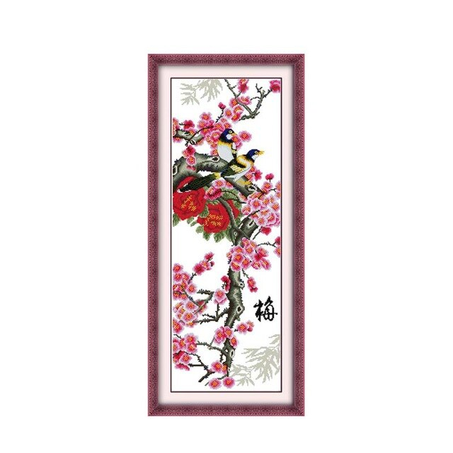 Plum Orchid Bamboo Chrysanthemum Tetralogy Hand-worked Cross-stitch Kits Spring Flowers