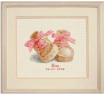 Baby Boots Birth Sampler Same DMC 14CT counted DIY Cross Stitch Kits for Embroidery Cartoon Boy Girl
