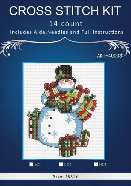 14/16/18/28 Counted Cross Stitch Kit Christmas Snowman Snow Man Gift Ornaments Ornament DIM   8770