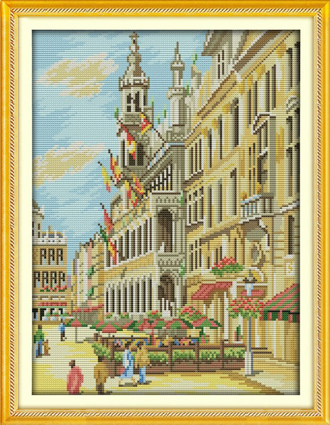 Everlasting love City street Chinese cross stitch kits Ecological cotton stamped 11 CT 14 CT