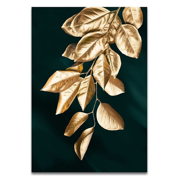 Abstract Golden Plant Leaves Picture Wall Poster Modern Style Canvas Print Painting