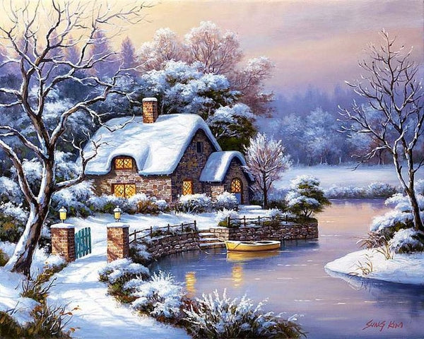 Cross Stitch Winter Scenery Needlework Sets Embroidery Snow Landscape Kits White Canvas DIY Home Decor 14CT 40x50cm
