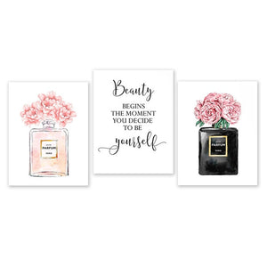 Perfume Bottle Wall Art Perfume Posters and Prints Beauty Begins Quote Print