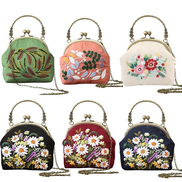 DIY Embroidery Flower Bag Handbag Needlework Cross Stitch Kit Handmade Kissing Portable Chain Bag Sewing Art Craft Creative Gift