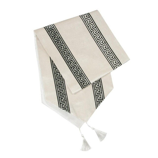 Fashion Diamond Shaped Stripes Table Runners Cloth with Tassels Dining Decoration