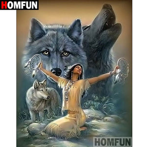 "Full Square/Round Drill 5D DIY Diamond Painting ""Indian wolf"" Embroidery Cross Stitch Gift A07304"