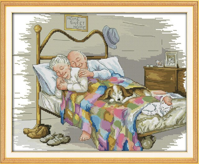 The old married couple love paintings counted print on canvas  Chinese Cross Stitch Needlework Sets Embroidery kits