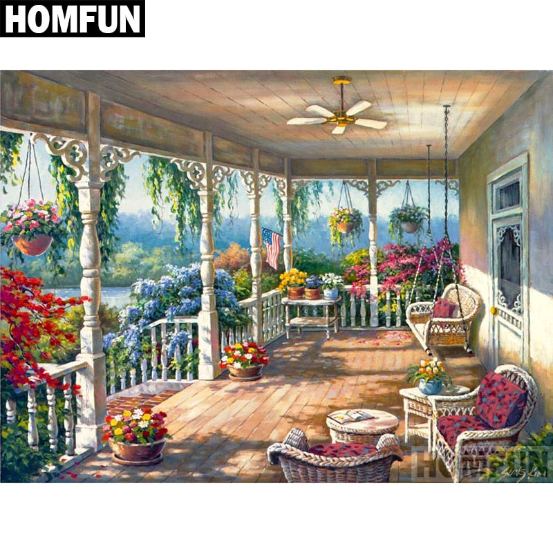 "Full Square/Round Drill 5D DIY Diamond Painting ""Garden scenery"" Embroidery Cross Stitch 5D Gift A06568"