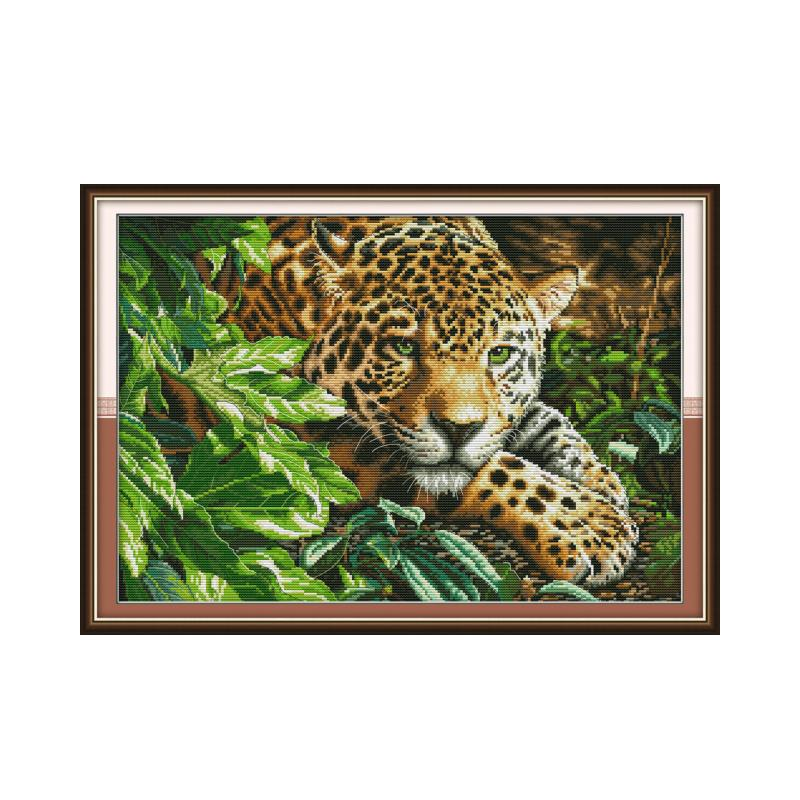 Leopard cross stitch kit aida 14ct 11ct count print canvas cross stitches   needlework embroidery DIY handmade