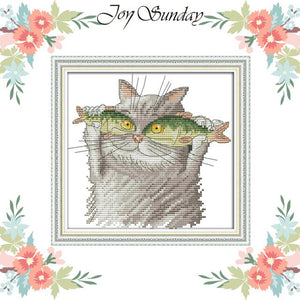 Cross Stitch Cat I love Fish 11ct 14ct DIY Handwork Counted Printed Crossstitch kit DMC
