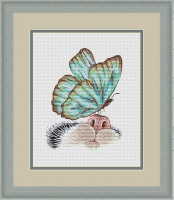 Needlework 14CT  Cross Stitch, DIY Count Cross Stitch, Embroidery Set, Butterfly on cat nose