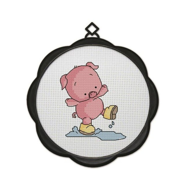 Cross Stitch Kit with Frames Embroidery, Simple Handmade DIY Baby Duck Piglets