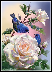 Handmade Decor - Roses and Blue Birds