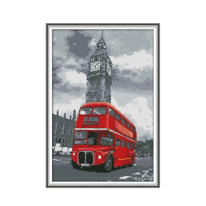 Bus cross stitch kit aida 14ct 11ct count print canvas cross stitches   needlework embroidery DIY handmade