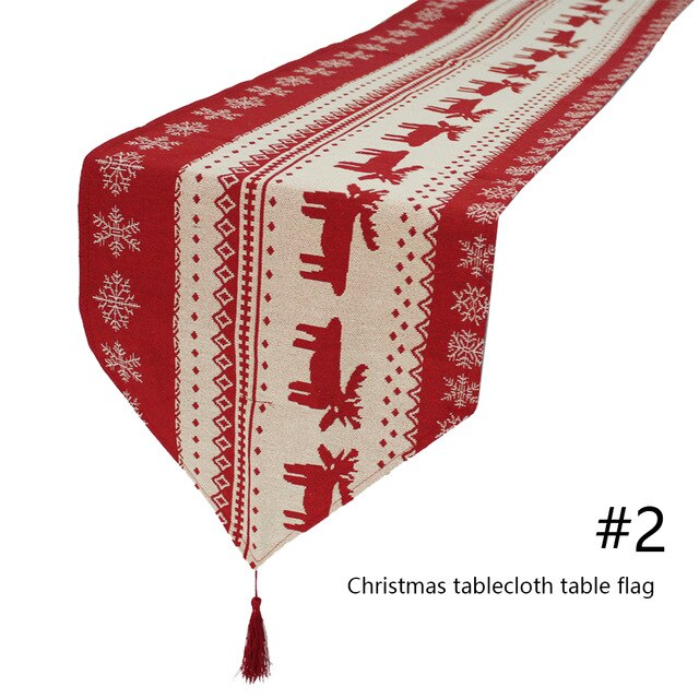 Christmas Table Runner Cotton Linen Table Cloth Embroidered Dining Table Cover